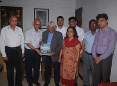 Dr. A.P.J.Abdul Kalam,Honorable Former President of India releasing the first Issue of our Lab World Magazine along with our Chief Advisor & Editor Dr Mahesh C Gupta